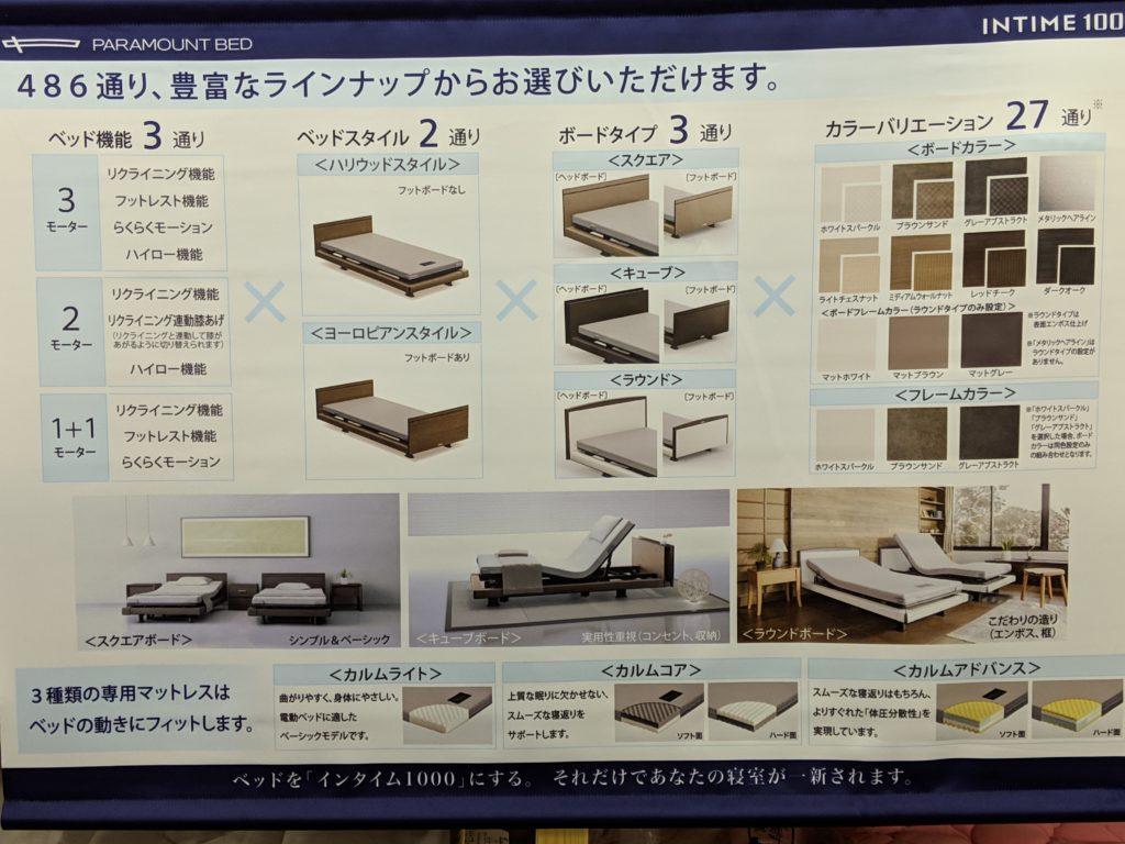 パラマウントベッドINTIME1000のヘッドボード・ベッドスタイル・カラーバリエーションの紹介