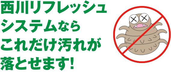西川リフレッシュシステムならこれだけ汚れが落とせます!