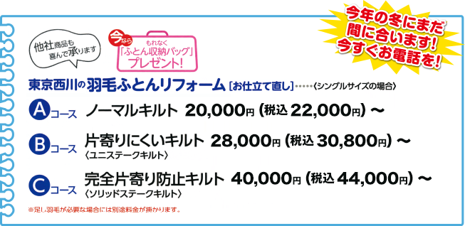 東京西川の羽毛ふとんリフォーム価格例