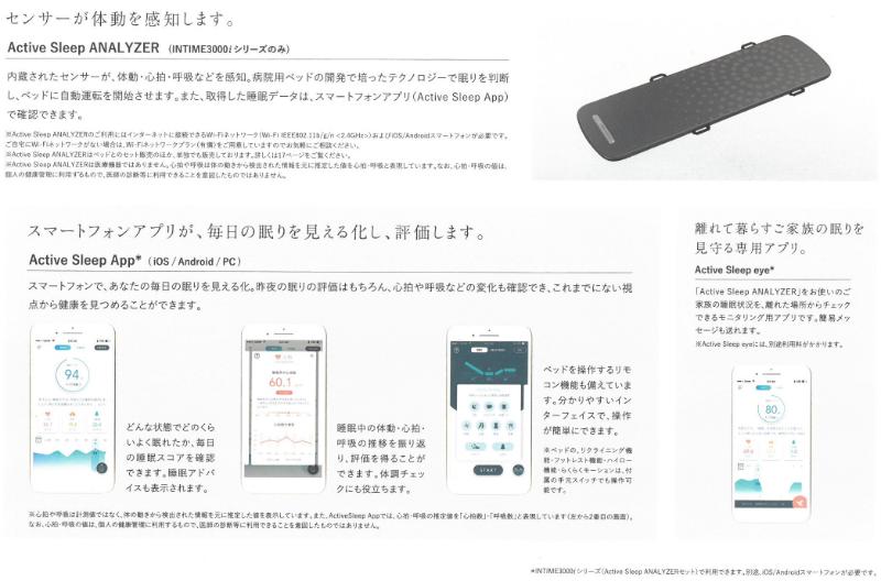 アクティブスリープアナライザーでセンサーが体動を感知します。スマートフォンが毎日の眠りを見える化し、評価します。